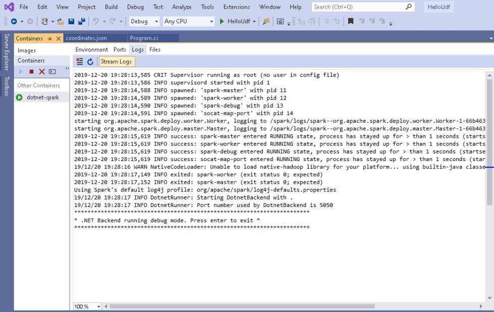 dotnet-spark container - .NET Backend running debug mode