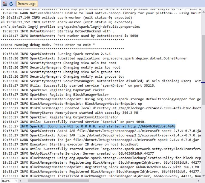 .NET for Apache Spark - SparkUI started