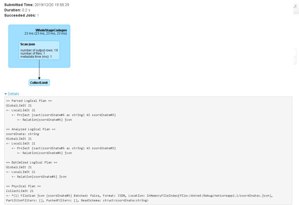 SparkUI - SQL query 0 details