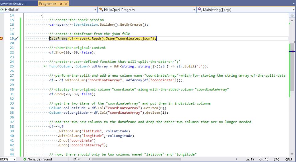 .NET for Apache Spark debugging - break point