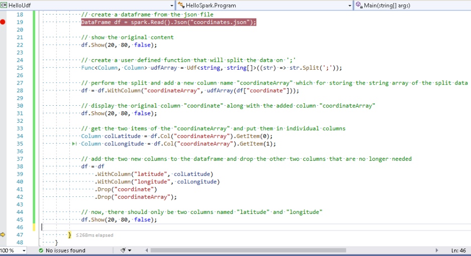 Visual Studio - last df.Show