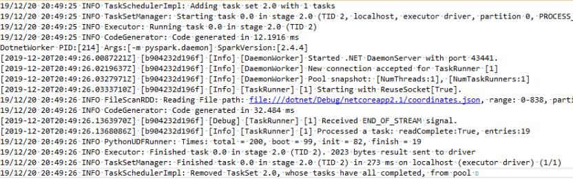 dotnet-spark log - PythonUDFRunner