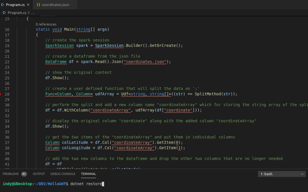 HelloUdf in Visual Studio Code