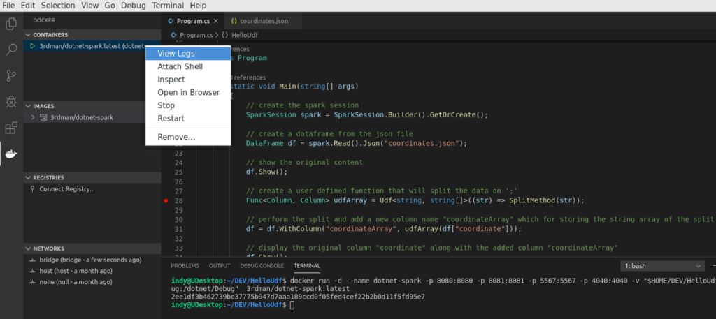 Docker for Visual Studio Code - View Logs
