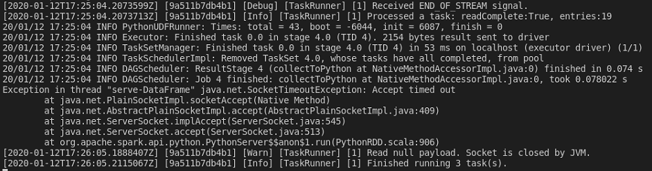 dotnet-spark container logs SocketTimeoutException