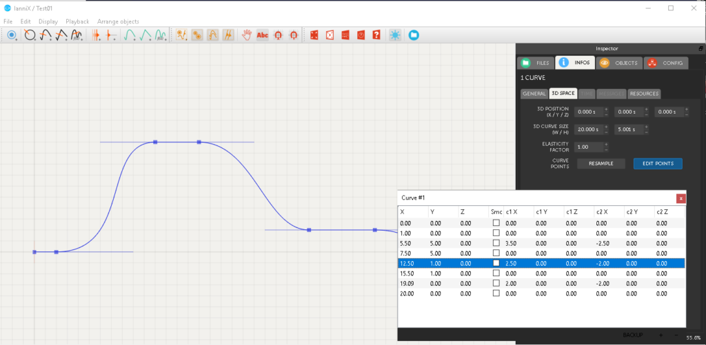 The imported graph in IanniX