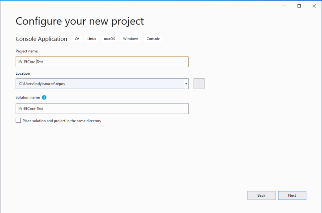 Create a new .NET Core Console Application - project name