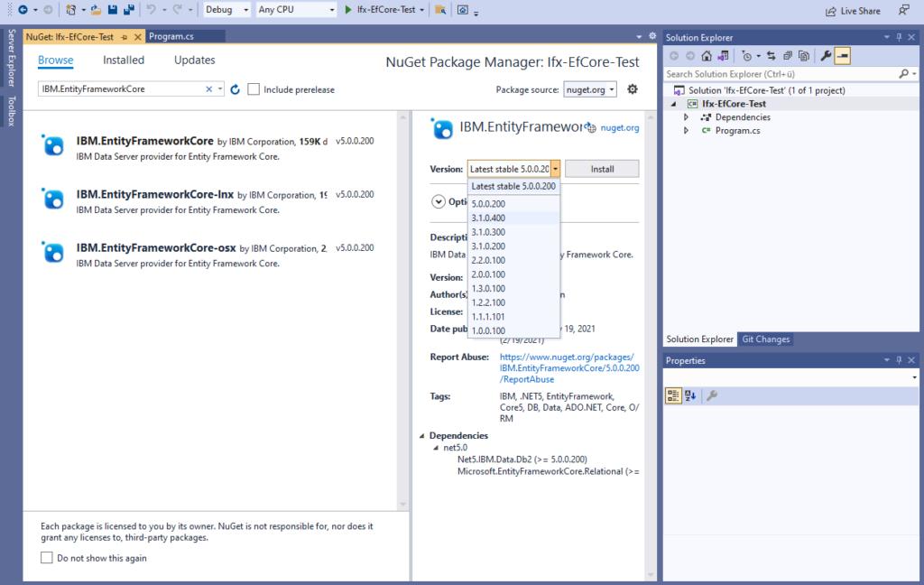 IBM Informix and EntitiyFrameworkCore - install IBM Data Server provider - select version