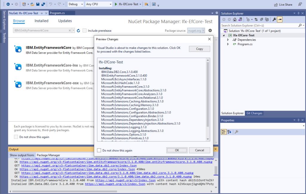 IBM Informix and EntitiyFrameworkCore - install IBM Data Server provider - preview changes