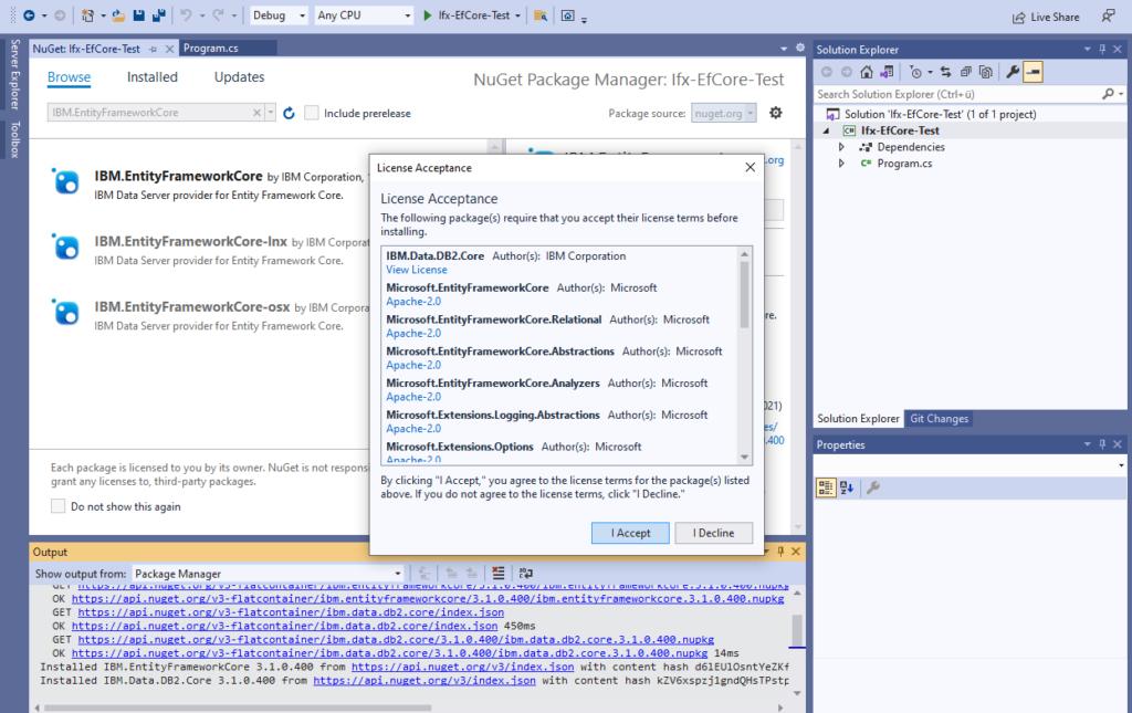 IBM Informix and EntitiyFrameworkCore - install IBM Data Server provider - license acceptance