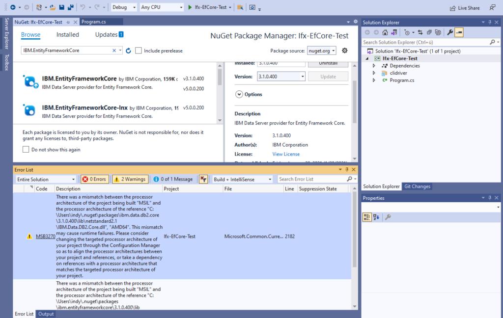 IBM Informix and EntitiyFrameworkCore - processor architecture warning