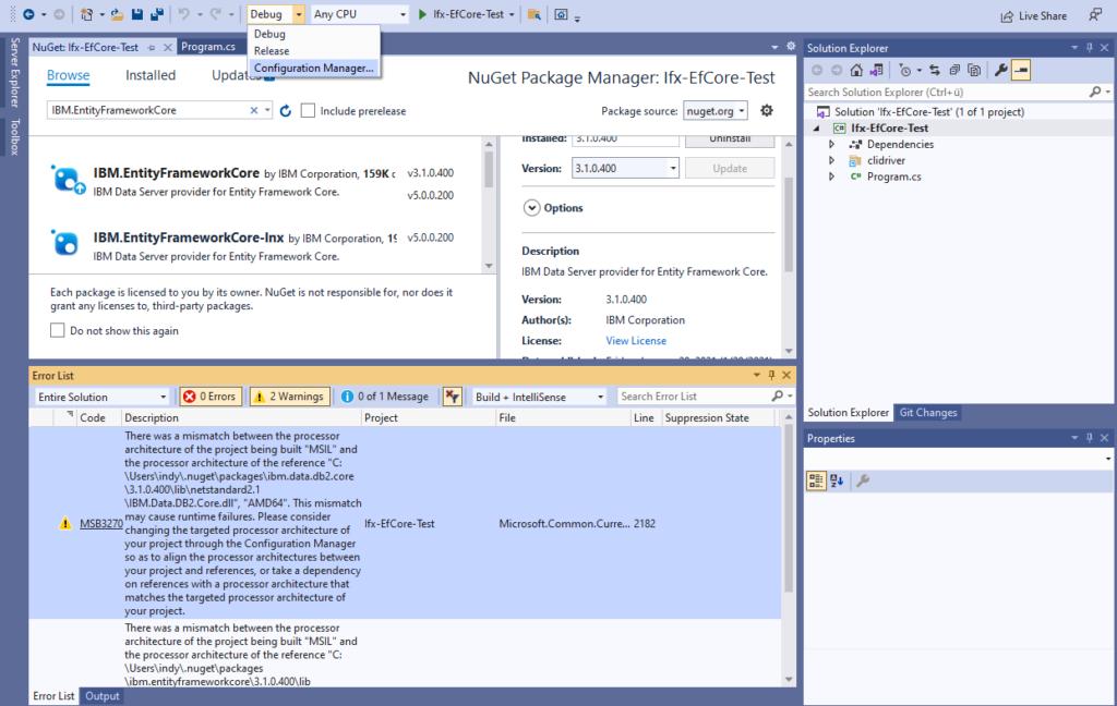 IBM Informix and EntitiyFrameworkCore - launch Configuration Manager