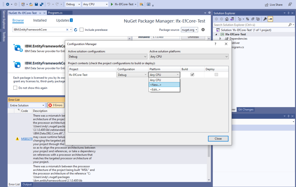 IBM Informix and EntitiyFrameworkCore - create new platform