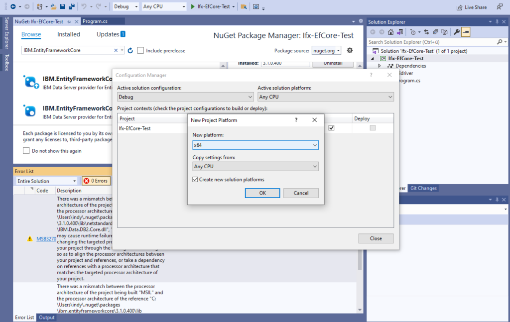 IBM Informix and EntitiyFrameworkCore - set new platform to x64