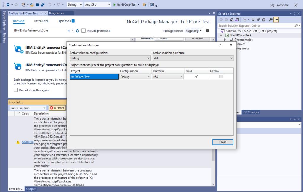 IBM Informix and EntitiyFrameworkCore - Configuration Manager set to x64 as platform
