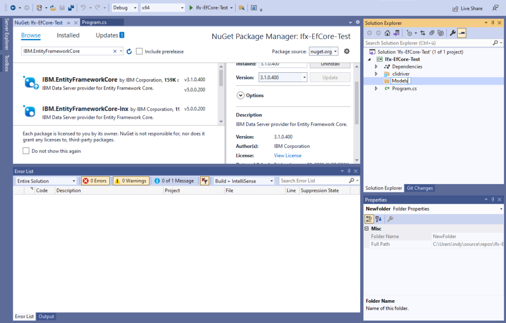 IBM Informix and EntitiyFrameworkCore - create Models folder
