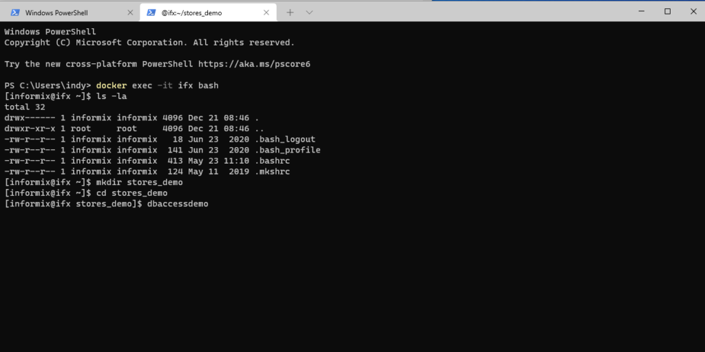Create demo database via dbaccessdemo