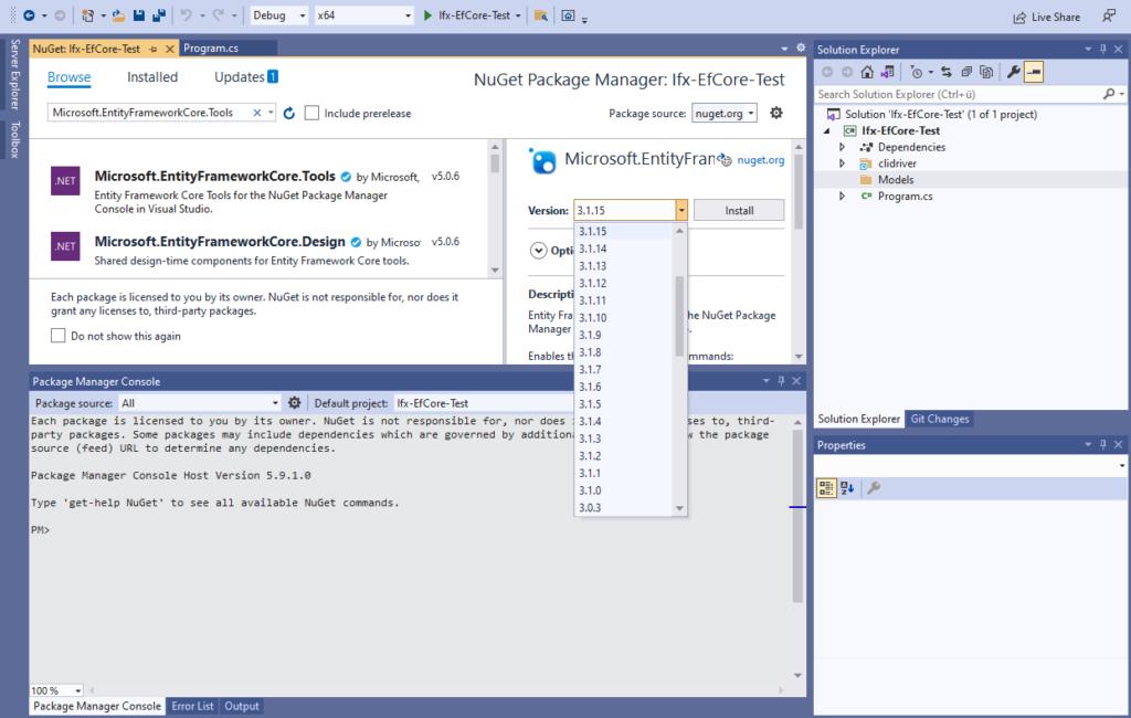 IBM Informix and EntitiyFrameworkCore - install Microsoft.EntityFrameworkCore.Tools package