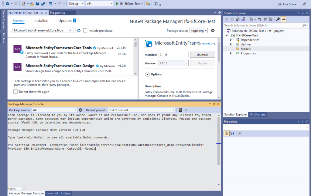 IBM Informix and EntitiyFrameworkCore - execute Scaffold-DbContext to reverse engineer the demo database