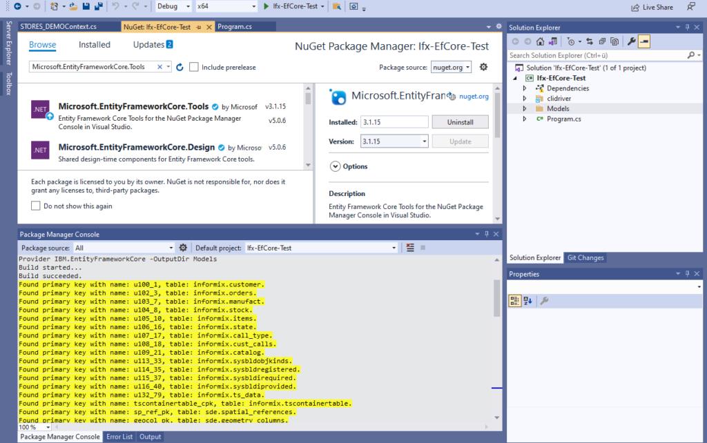 IBM Informix and EntitiyFrameworkCore - Scaffold-DbContext model generation log