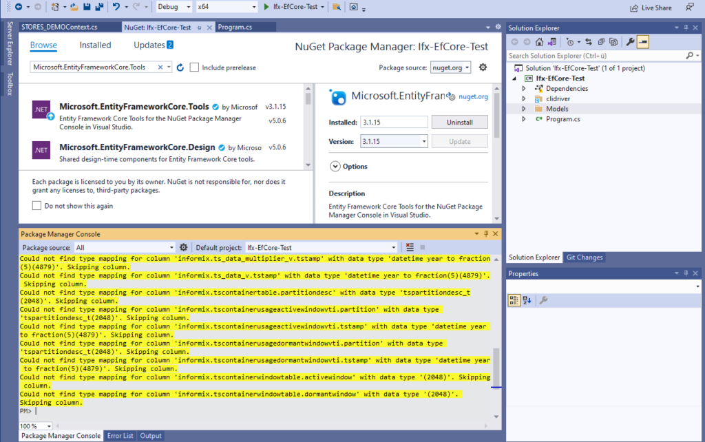 IBM Informix and EntitiyFrameworkCore - Scaffold-DbContext mapping warnings for not supported data types
