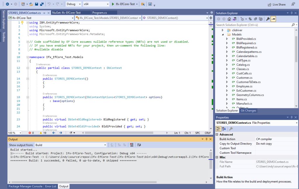 IBM Informix and EntitiyFrameworkCore - generated DbContext