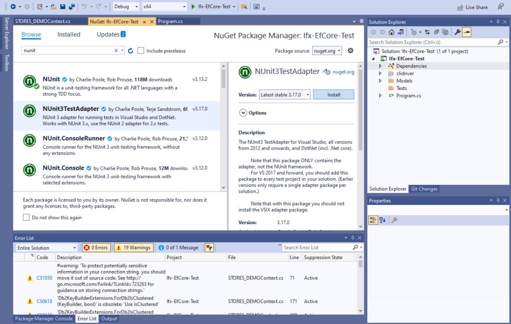 Add NUnit Test Adapter for Visual Studio