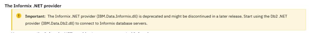 IBM.Data.Informix.dll is deprecated