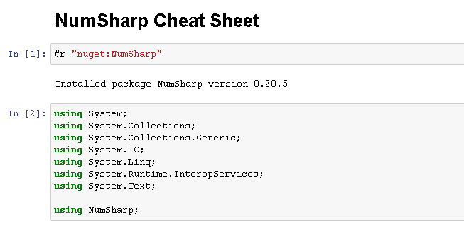 NumSharp Cheat Sheet interactive notebook
