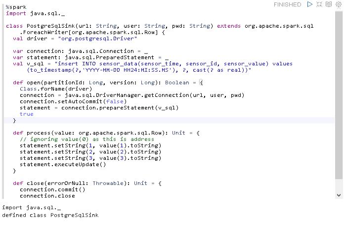 Spark to PostgreSQL - defining the PostgreSqlSink class