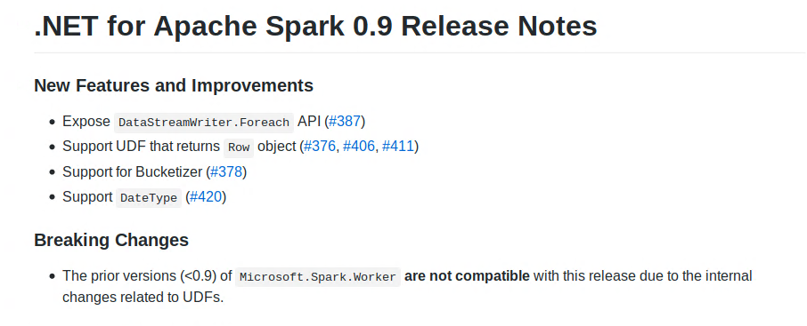 .NET for Apache Spark 0.9.0 release notes