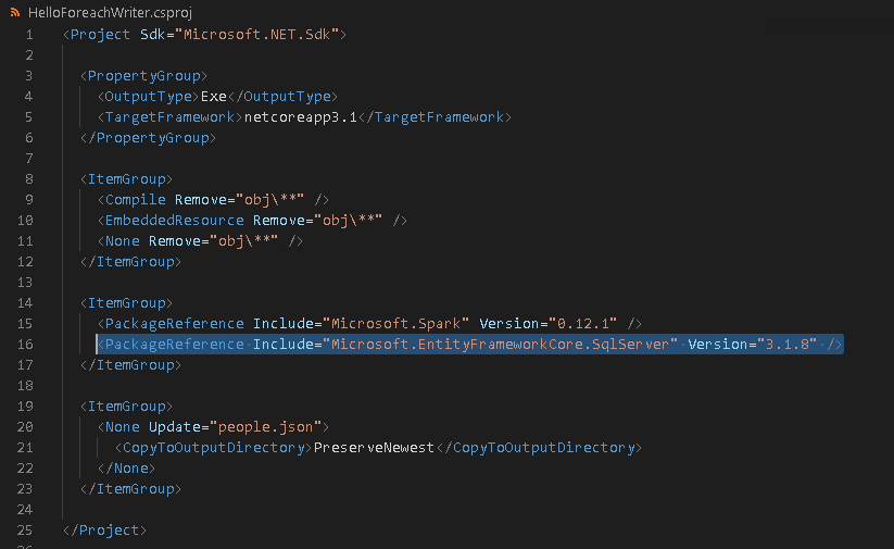Adding the EntityFrameworkCore SqlServer Provider