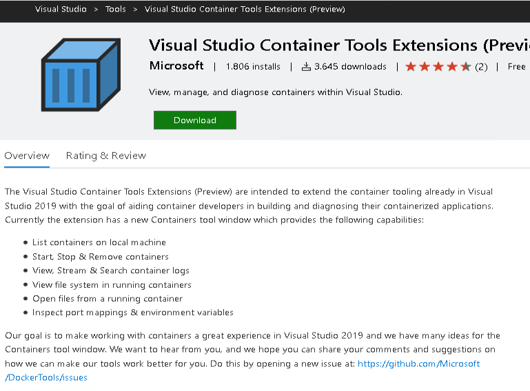 visual studio container tools extension download